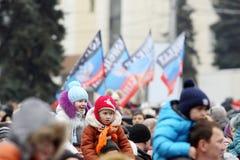 Viering van de Internationale Dag van Solidariteit in Donetsk  Stock Foto's
