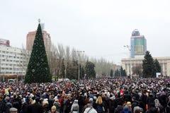 Viering van de Internationale Dag van Solidariteit in Donetsk  Royalty-vrije Stock Afbeeldingen