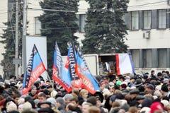 Viering van de Internationale Dag van Solidariteit in Donetsk  Stock Fotografie