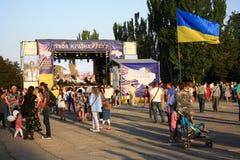 Viering van de Onafhankelijkheidsdag van de Oekraïne in Mariupol stock fotografie