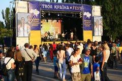 Viering van de Onafhankelijkheidsdag van de Oekraïne in Mariupol royalty-vrije stock foto