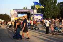Viering van de Onafhankelijkheidsdag van de Oekraïne in Mariupol stock afbeelding
