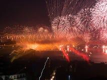 Viering van de Turkse Dag van de Republiek bij de bosphorus-Samenvatting van Istanboel Royalty-vrije Stock Fotografie