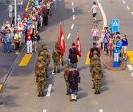 Viering van de Zwitserse Nationale Dag in Zürich, Zwitserland Stock Afbeeldingen