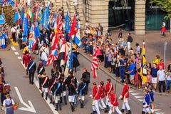 Viering van de Zwitserse Nationale Dag in Zürich, Zwitserland Stock Afbeelding