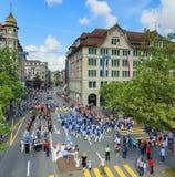 Viering van de Zwitserse Nationale Dag in Zürich, Zwitserland Stock Foto's