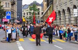 Viering van de Zwitserse Nationale Dag in Zürich, Zwitserland Royalty-vrije Stock Afbeeldingen