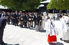 Viering van een traditioneel Japans huwelijk Stock Afbeelding