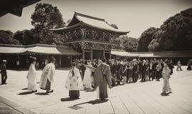 Viering van een traditioneel Japans huwelijk. Royalty-vrije Stock Fotografie