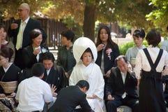 Viering van een traditioneel Japans huwelijk Stock Foto