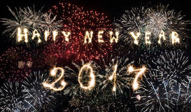 Viering van het nieuwe jaar 2017 - vuurwerk Stock Foto's
