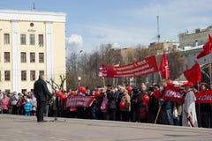 Viering van 1 Mei (de Dag van Internationale Arbeiders) in Rusland Stock Afbeelding
