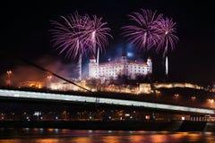 Viering van Nieuwjaar in Bratislava, Slowakije Stock Afbeeldingen