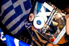 Vieringen in Griekenland na de referendumresultaten Royalty-vrije Stock Fotografie
