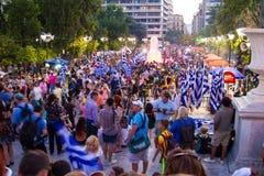 Vieringen in Griekenland na de referendumresultaten Royalty-vrije Stock Foto's