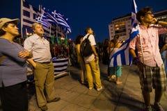 Vieringen in Griekenland na de referendumresultaten Stock Afbeelding