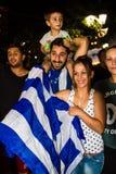 Vieringen in Griekenland na de referendumresultaten Stock Fotografie
