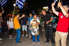 Vieringen in Griekenland na de referendumresultaten Royalty-vrije Stock Foto