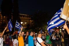 Vieringen in Griekenland na de referendumresultaten Stock Foto