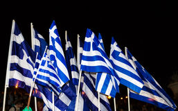Vieringen in Griekenland na de referendumresultaten Royalty-vrije Stock Afbeeldingen