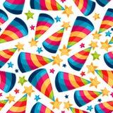 Vierings feestelijk naadloos patroon met dwaas Royalty-vrije Stock Afbeelding