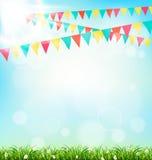 Vieringsachtergrond met buntings gras en zonlicht op hemel royalty-vrije illustratie