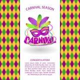 Vieringsachtergrond met het masker, de ballons en het van letters voorzien van Carnaval Vector illustratie royalty-vrije illustratie