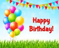 Vieringsachtergrond met kleurrijke ballons Royalty-vrije Stock Fotografie