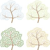 Vierjahreszeitenbäume, Vektorillustration von abctract Stockfotos