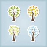 Vierjahreszeitenbaumikonen Stockfoto