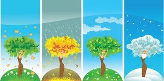 Vierjahreszeitenfrauenbaum vektor abbildung