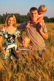 Vierköpfige Familie auf wheaten Feld Stockfotos