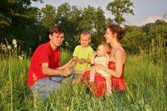 Vierköpfige Familie auf Wiese Stockfotos