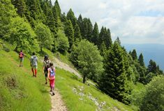 Vierköpfige Familie geht auf die Berge Lizenzfreie Stockbilder