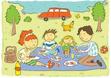 Vierköpfige Familie im Herbstwald Stockbild