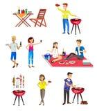 Vierköpfige Familie im Herbstwald Bbq-Partei Lebensmittel und Grill stock abbildung