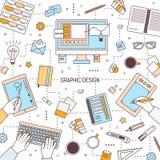 Vierkant bannermalplaatje met grafisch ontwerp of digitale kunsthulpmiddelen, ontwerpers die op toetsenbord typen of op tablet tr vector illustratie