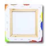 Vierkant canvas op een brancard, verf op rand Royalty-vrije Stock Fotografie