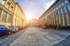 Vierkant in de stad van Novara, Italië toning Stock Foto