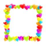 Vierkant fotokader dat van geïsoleerde harten wordt gemaakt Stock Afbeeldingen