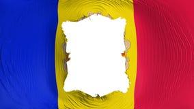 Vierkant gat in de vlag van Andorra stock illustratie