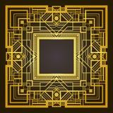 Vierkant gouden en zwart retro kader Royalty-vrije Stock Afbeeldingen