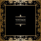 Vierkant gouden kader op zwarte Royalty-vrije Stock Fotografie