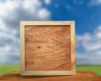 Vierkant houten frame stock fotografie