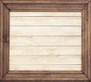 Vierkant houten kader op houten achtergrond Royalty-vrije Stock Afbeelding
