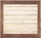 Vierkant houten kader op houten achtergrond Royalty-vrije Stock Foto