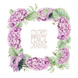 Vierkant kader met mooie de lentebloemen en installaties Royalty-vrije Stock Foto