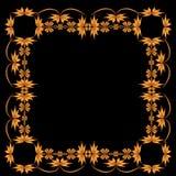 Vierkant kader van geschilderd ornament op een zwarte achtergrond Stock Afbeelding