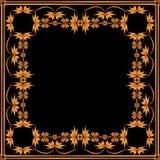 Vierkant kader van geschilderd ornament op een zwarte achtergrond Royalty-vrije Stock Foto's