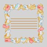 Vierkant kader van postenveloppen Stock Foto's